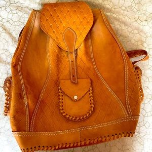 Unique leather backpack from South America EUC